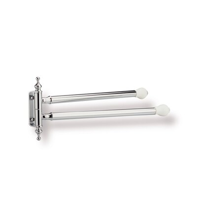 Stilhaus by Nameeks Nemi Wall Mounted Swivel Double Towel Bar with End Caps in Chrome/White