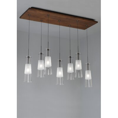 LBL Lighting Fusion Jack Seven Port Wood Rectangle Canopy in Satin Nickel
