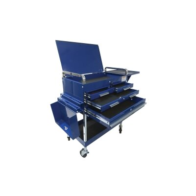 Sunex Dlx Service Cart W/Locking Top 4-Drawers Blue