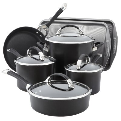 Symmetry Hard Anodized Non-Stick 9-Piece Cookware with 2-Piece Bakeware Set