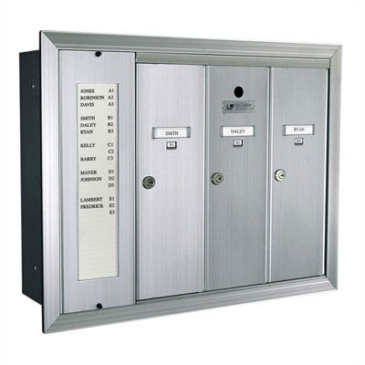 Florence Mailboxes 1255  Vertical Mailbox Unit With Directory and Semi - Recessed Collar