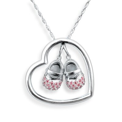 Heart-n-Sole Boutique Necklace in Sterling Silver and Pink CZ