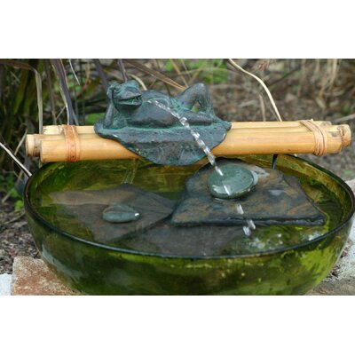 Bamboo Accents Frog Polyresin Fountain with Bamboo Water Spout and Pump Kit