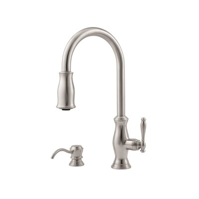 Price Pfister Hanover One Handle Widespread Kitchen Faucet with Soap Dispenser