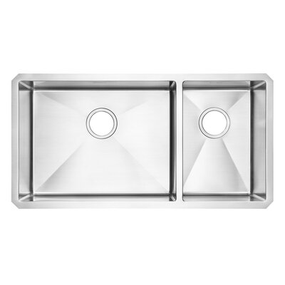 American Standard Stainless Steel Undermount Double Combination Bowl kitchen sink in Brushed Stainless Steel