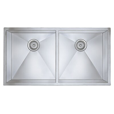 "Blanco Precision 16"" Large Equal Double Bowl Stainless Steel Kitchen Sink in Satin Polished"