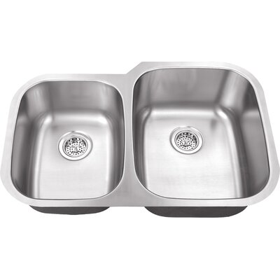 "Schon 30"" x 18.75"" Double Bowl 16 Gauge Kitchen Sink"