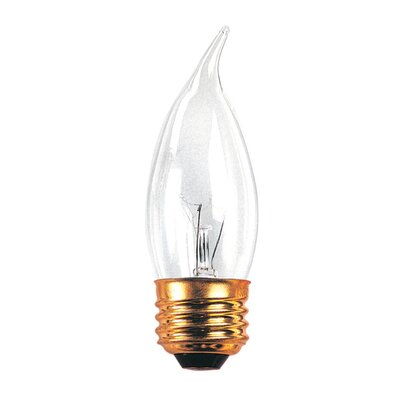 Bulbrite Industries 25W Incandescent Flame Tip Chandelier Bulb with E26 Base in Clear