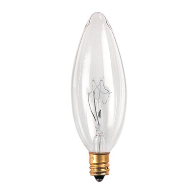Bulbrite Industries 5W Incandescent Torpedo Chandelier Bulb with E12 Base in Clear