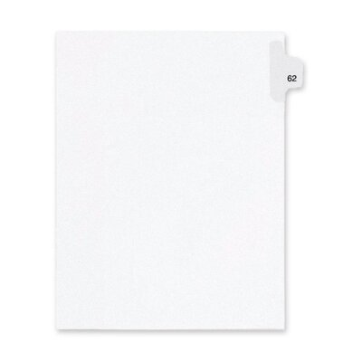 Kleer-Fax, Inc. Index Dividers,Number 62,Side Tab,1/25 Cut,Letter,25/PK,WE