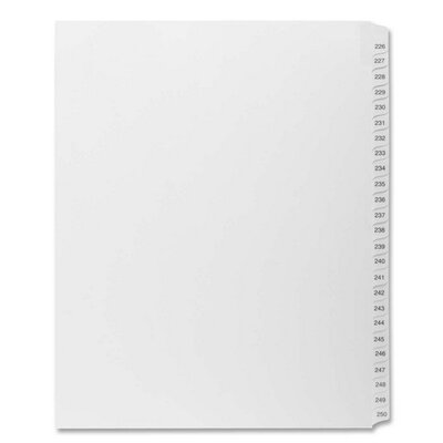 "Kleer-Fax, Inc. Index Dividers,""Exhibit 226-250"",Side Tabs,1/25 Cut,25/PK,WE"