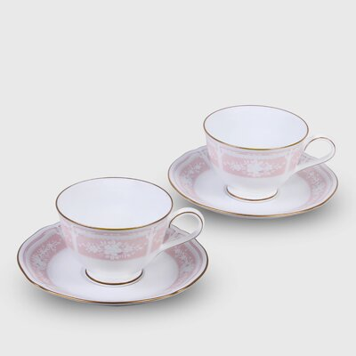 Lacewood Gold Pink Dinnerware Set