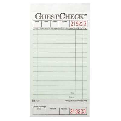 National Checking Company™ Guest Check Pad with Stub