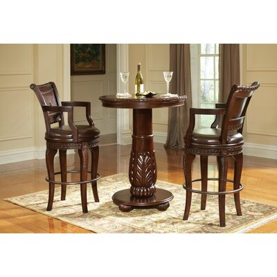 Steve Silver Furniture Antoinette 3 Piece Pub Table Set in Multi-Step Rich Cherry