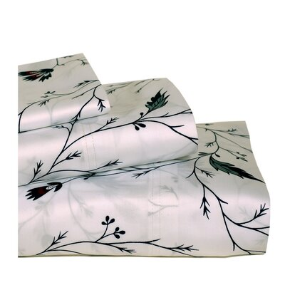 Tribeca Living 350 Thread Count Mirage Floral Print Deep Pocket Sheet Set
