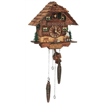 "Schneider 10"" Antique Stained Chalet Cuckoo Clock with Woodchopper"