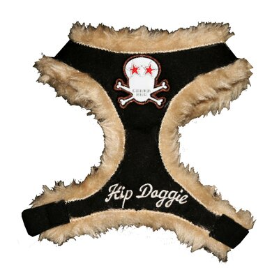 Fur Skull Dog Harness Vest in Black