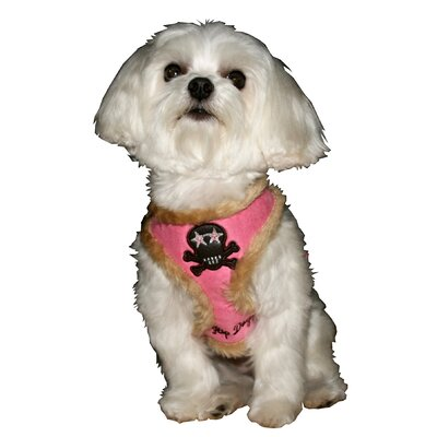 Fur Skull Dog Harness Vest in Pink