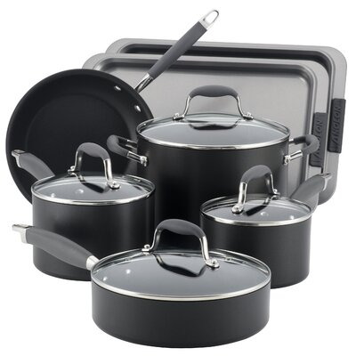 Advanced Hard Anodized Nonstick 9-Piece Cookware with 2-Piece Bakeware Set
