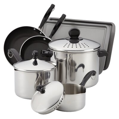 Farberware Classic Stainless 10-Piece Cook & Strain Cookware Set