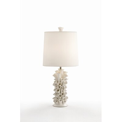 ARTERIORS Home Cassidy Satin White Porcelain Lamp with Ivory Sheer Silk Shade