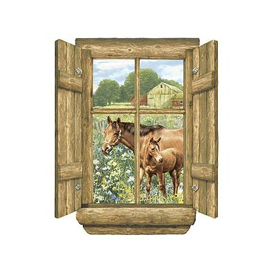 4 Walls Unique Log Window Horse Peel and Stick in Multi