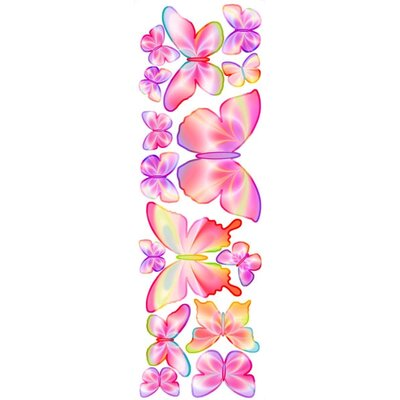 4 Walls Unique Fluttering Butterfly Accents Peel and Stick in Springtime Pink