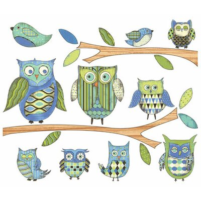 4 Walls Owls Branches Pre-Pasted Accent Mural in Blue