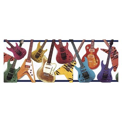4 Walls Whimisical Wall Guitar Border in Navy
