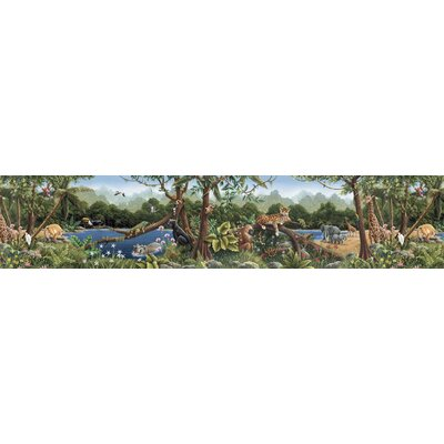 4 Walls Whimisical Wall Jungle Mural Style Border in Multi