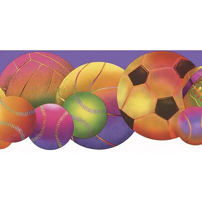 4 Walls Whimsical Children's Vol. 1 Neon Sports Balls Die-Cut Border in Purple