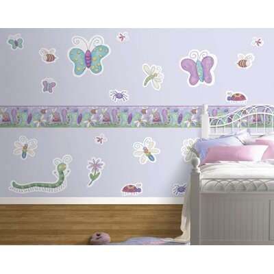 4 Walls Bugs Free Style Peel and Stick Decal in Purple