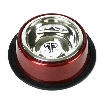 Two Piece Dog Bowl with Skid Stop in Red