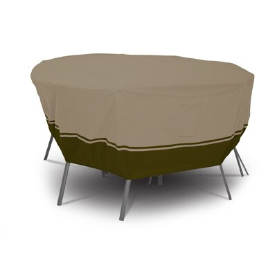 Classic Accessories Villa Round Patio Table And Chair Set Cover In Birch and Walnut