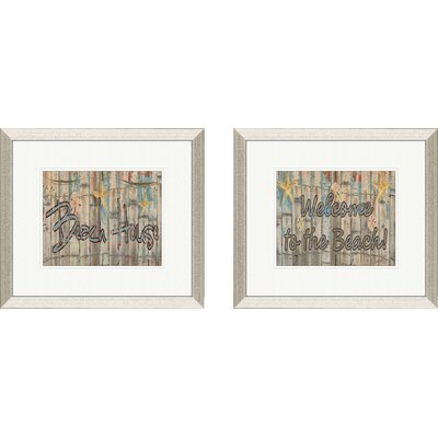 Pro Tour Memorabilia Coastal Distressed Beach House Framed Art (Set of 2)