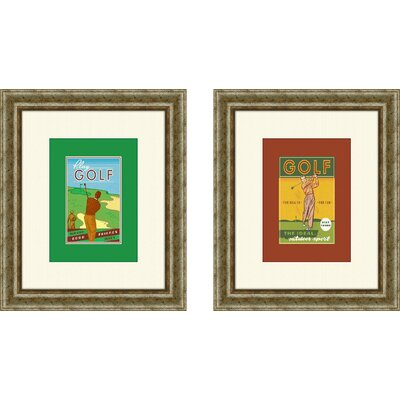 Pro Tour Memorabilia Vintage Golf Stay Young Framed Art (Set of 2)