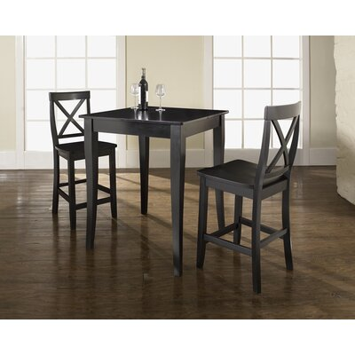 Crosley Three Piece Pub Dining Set with Cabriole Leg Table and X-Back Barstools in Black