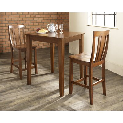 Three Piece Pub Dining Set with Tapered Leg Table and Shield Back Barstools in Classic ...