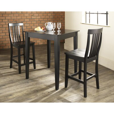 Crosley Three Piece Pub Dining Set with Tapered Leg Table and Barstools in Black
