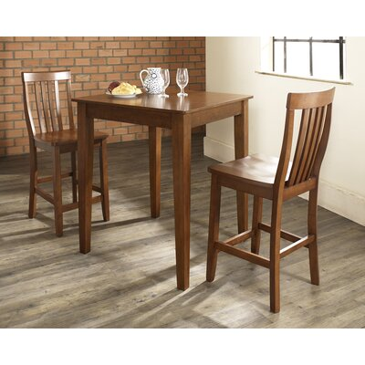 Crosley Three Piece Pub Dining Set with Tapered Leg Table and Barstools in Classic Cherry