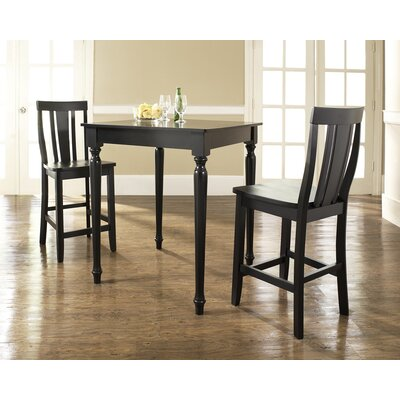 Three Piece Pub Dining Set with Turned Leg Table and Shield Back Barstools in Black ...