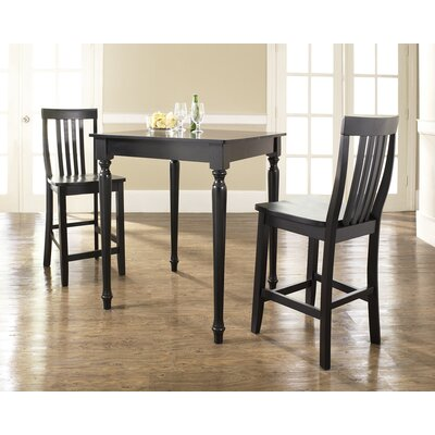 Crosley Three Piece Pub Dining Set with Turned Leg Table and Barstools in Black