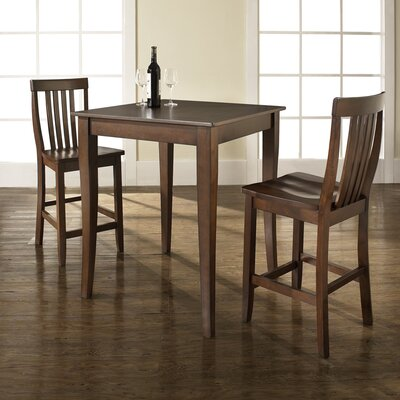 Three Piece Pub Dining Set with Cabriole Leg Table and Barstools in Vintage Mahogany