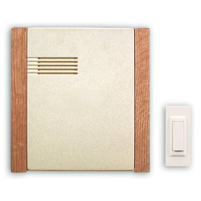 Wireless Battery Operated Door Chime Kit with Cream Faux Stone Cover