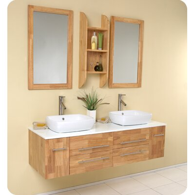 Fresca Bellezza Modern Double Vessel Sink Bathroom Vanity