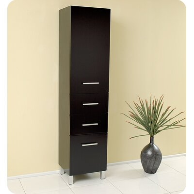 Fresca Espresso Bathroom Linen Cabinet with 3 Pull Out Drawers