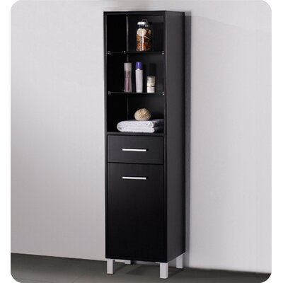 Fresca Espresso Bathroom Linen Cabinet with 3 Open Shelves