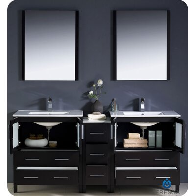 "Fresca Torino 72"" Modern Double Sink Bathroom Vanity with Side Cabinet and Undermount Sinks"