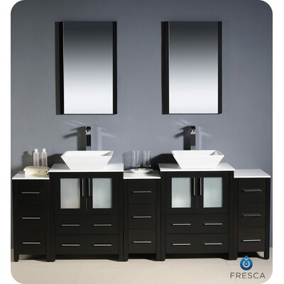 "Fresca Torino 84"" Modern Double Sink Bathroom Vanity with 3 Side Cabinets and Vessel Sinks"