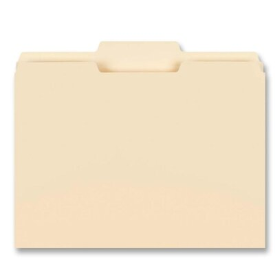 "Business Source File Folder, 1/3"" Center Tab, 1-Ply, 3/4"" Exp., Letter, 100 per Box, Manila"